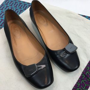 Tod's Black Leather Flats with Silver Hardware 8
